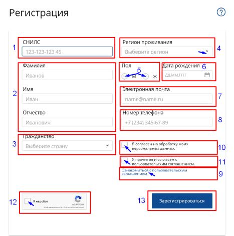 Ввод регистрационных данных нмо